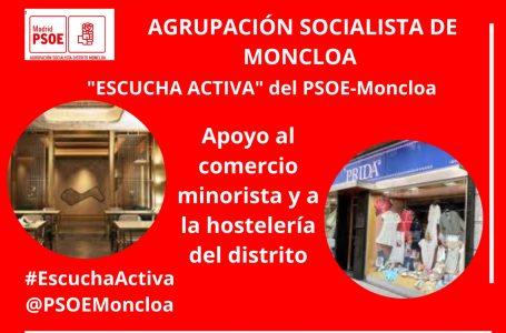 El PSOE de la Junta Moncloa-Aravaca plantea una campaña que consiste en que el Ayuntamiento devuelva a los consumidores el 10% de sus gastos en comercios, bares y restaurantes